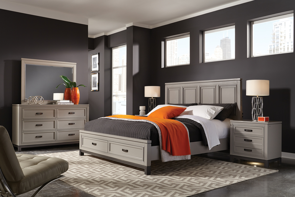 Aspenhome - Hyde Park King Painted Panel Storage Bed