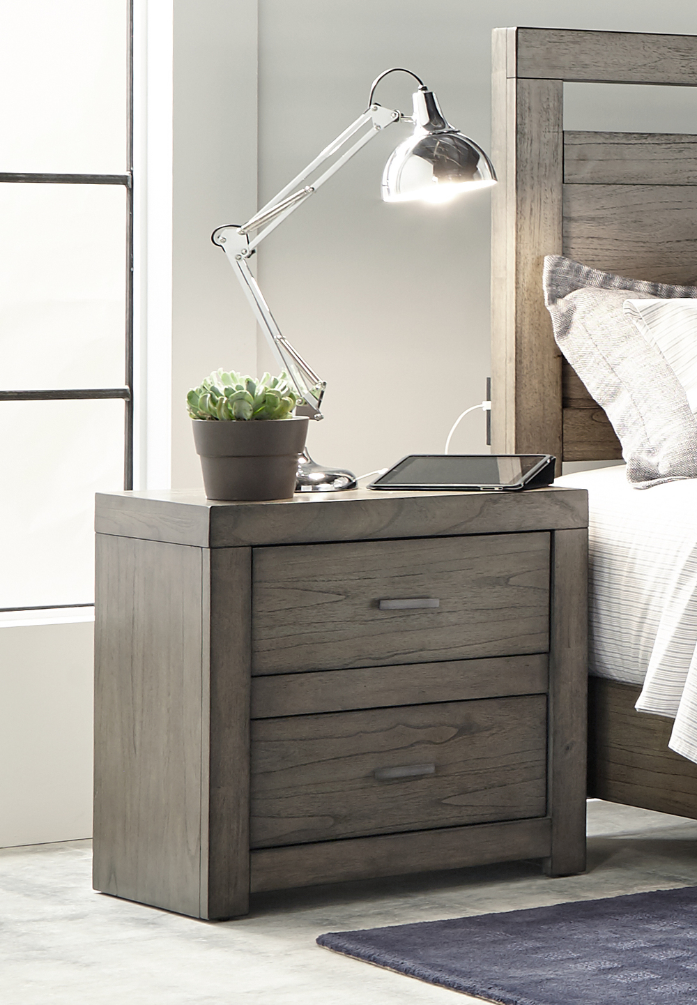 Aspenhome - Modern Loft Two Drawer Night Stand with Power