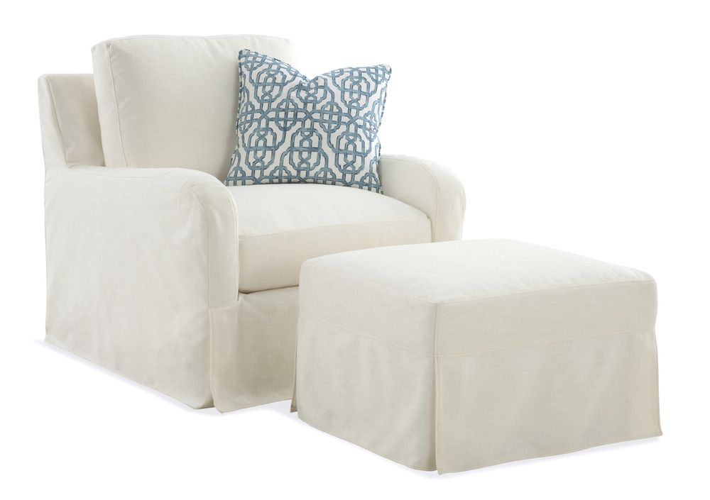 Braxton Culler - Halsey Chair and Ottoman with Silpcover