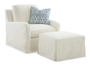 Thumbnail of Braxton Culler - Halsey Chair and Ottoman with Silpcover