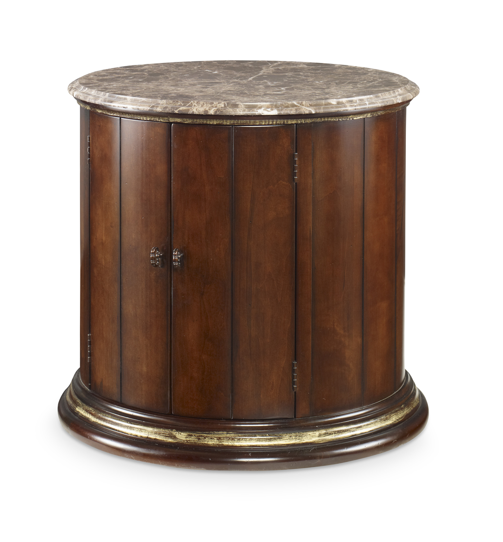 Century Furniture - Town & Country Barrel Commode w/ Brown Marble Top