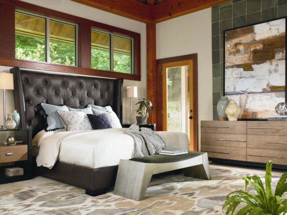 Century Furniture - Mesa Crescent Bed with Tufted Upholstered Headboard