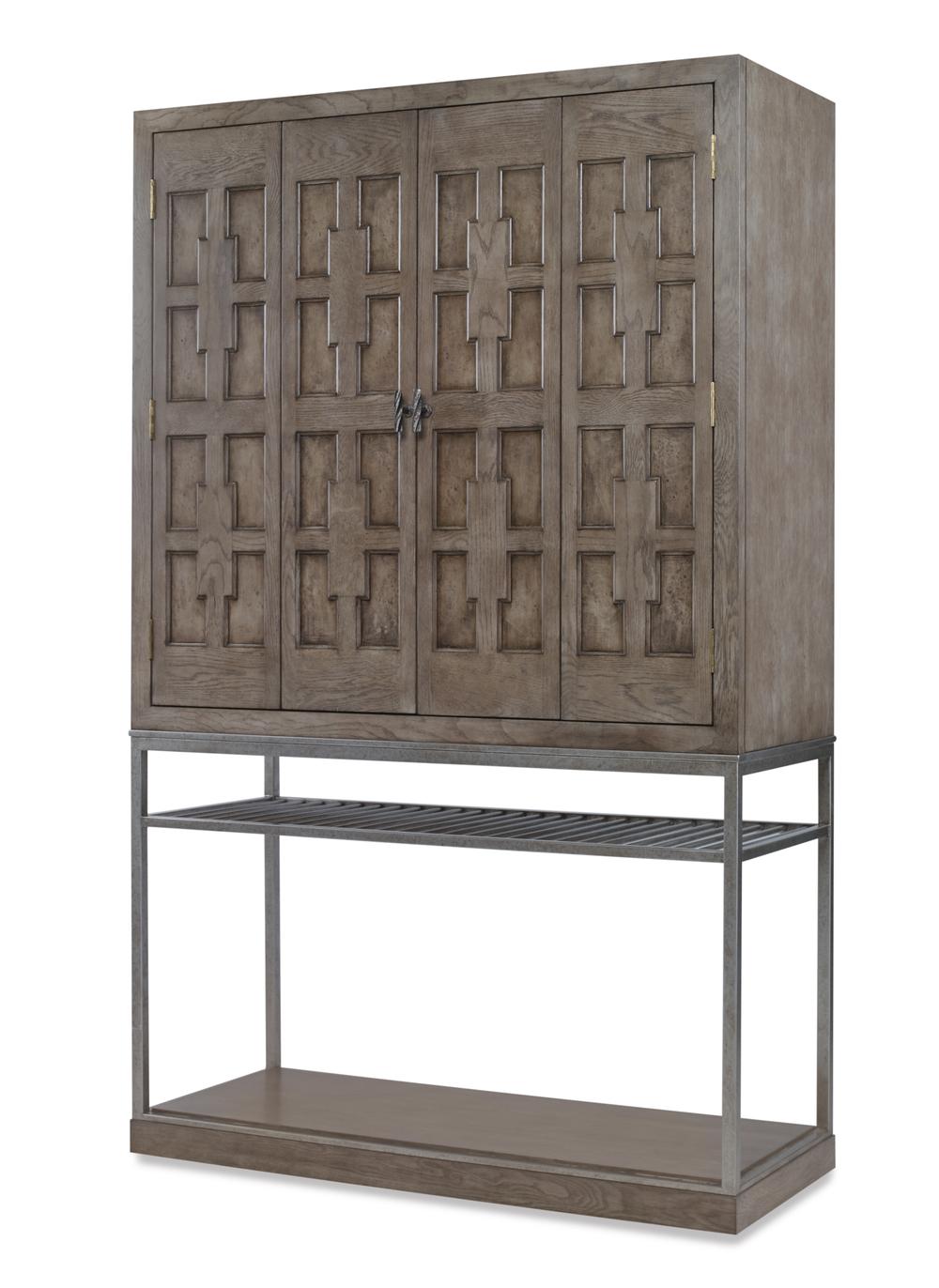 Century Furniture - Casa Bella Burl Bar Cabinet, Timber Gray