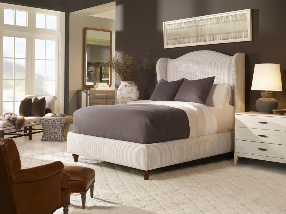 CENTURY FURNITURE - Fully Upholstered Wing Medium Headboard Bed