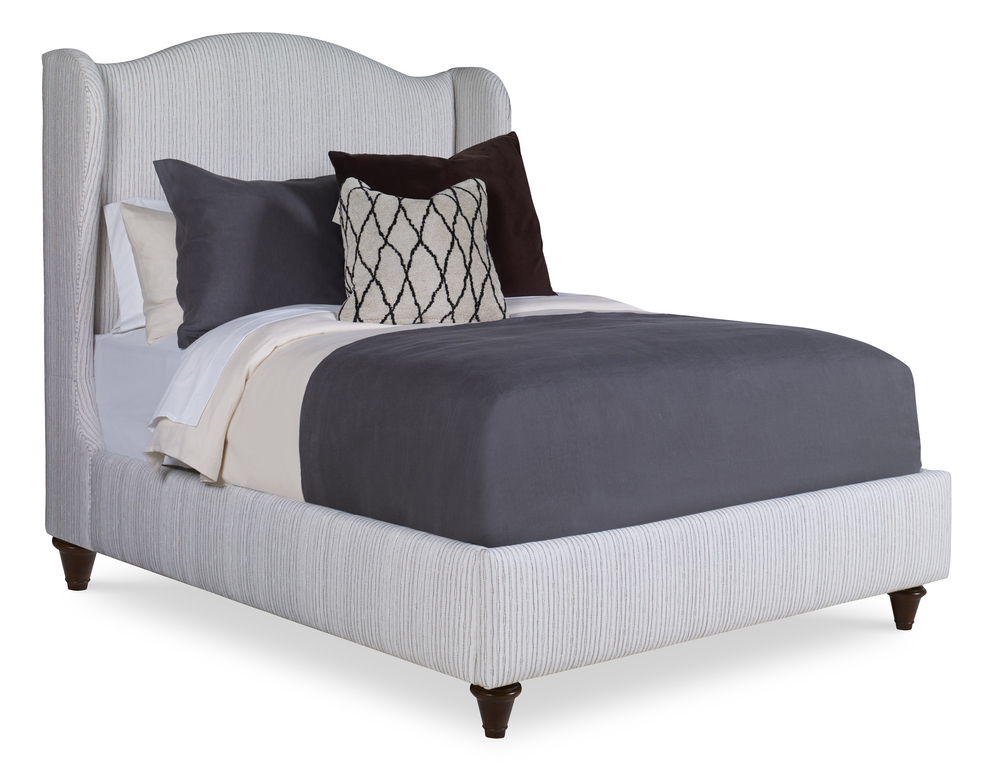 Century Furniture - Fully Upholstered Wing Bed with Medium Headboard, Queen