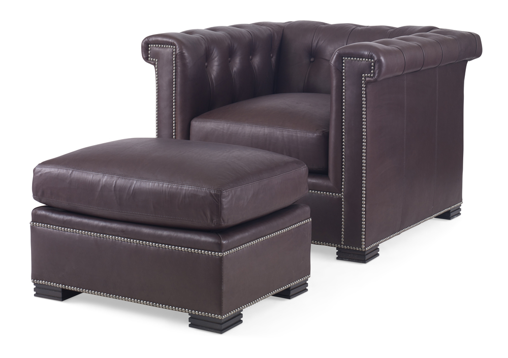 Century Furniture - Modern Chesterfield Chair and Ottoman