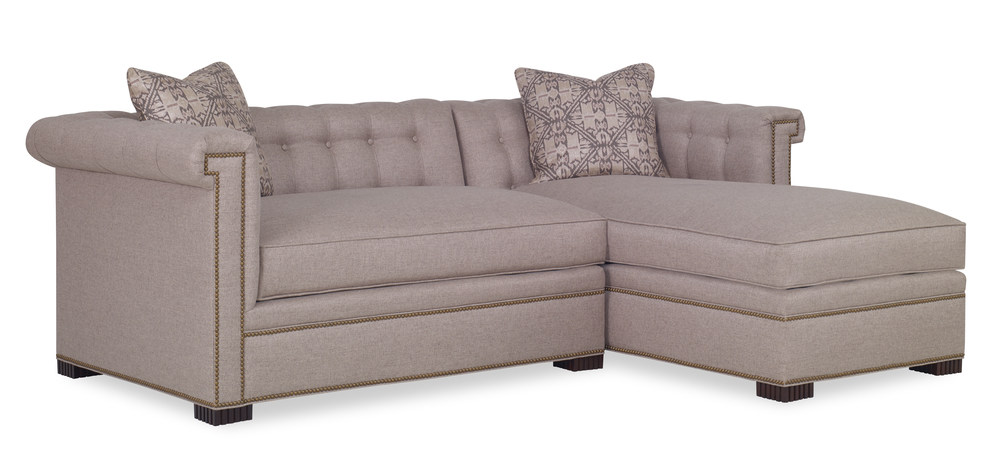 Century Furniture - Modern Chesterfield Sectional with Chaise