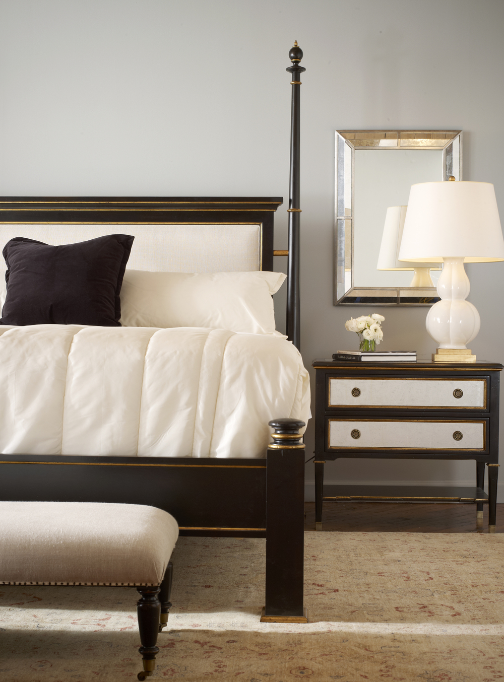 Century Furniture - Barrington Poster Bed with Upholstered Headboard, King