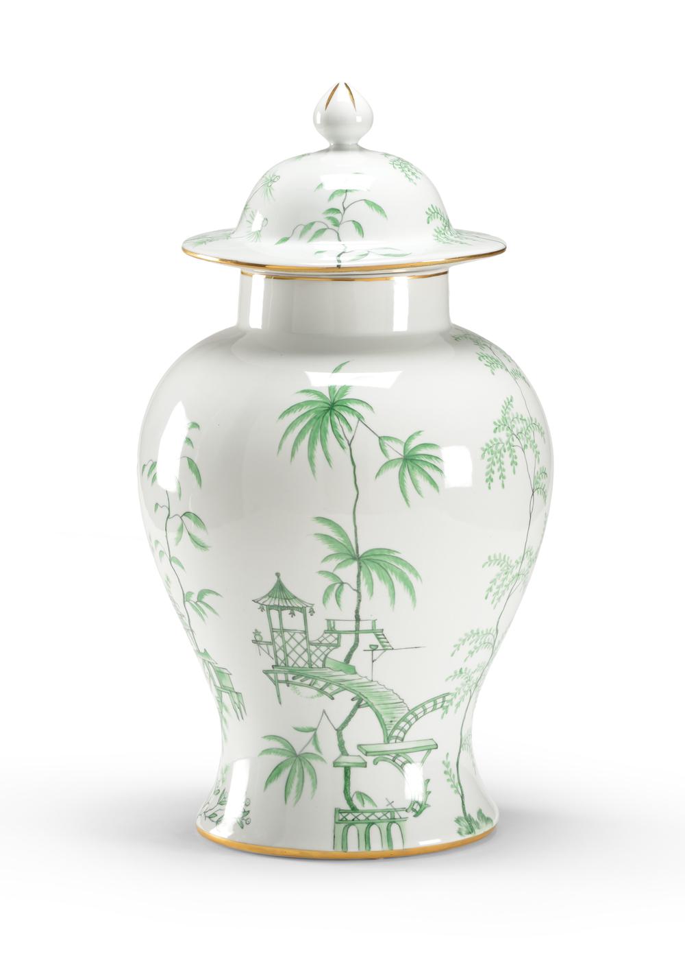 Chelsea House - Green Chinoiserie Jar