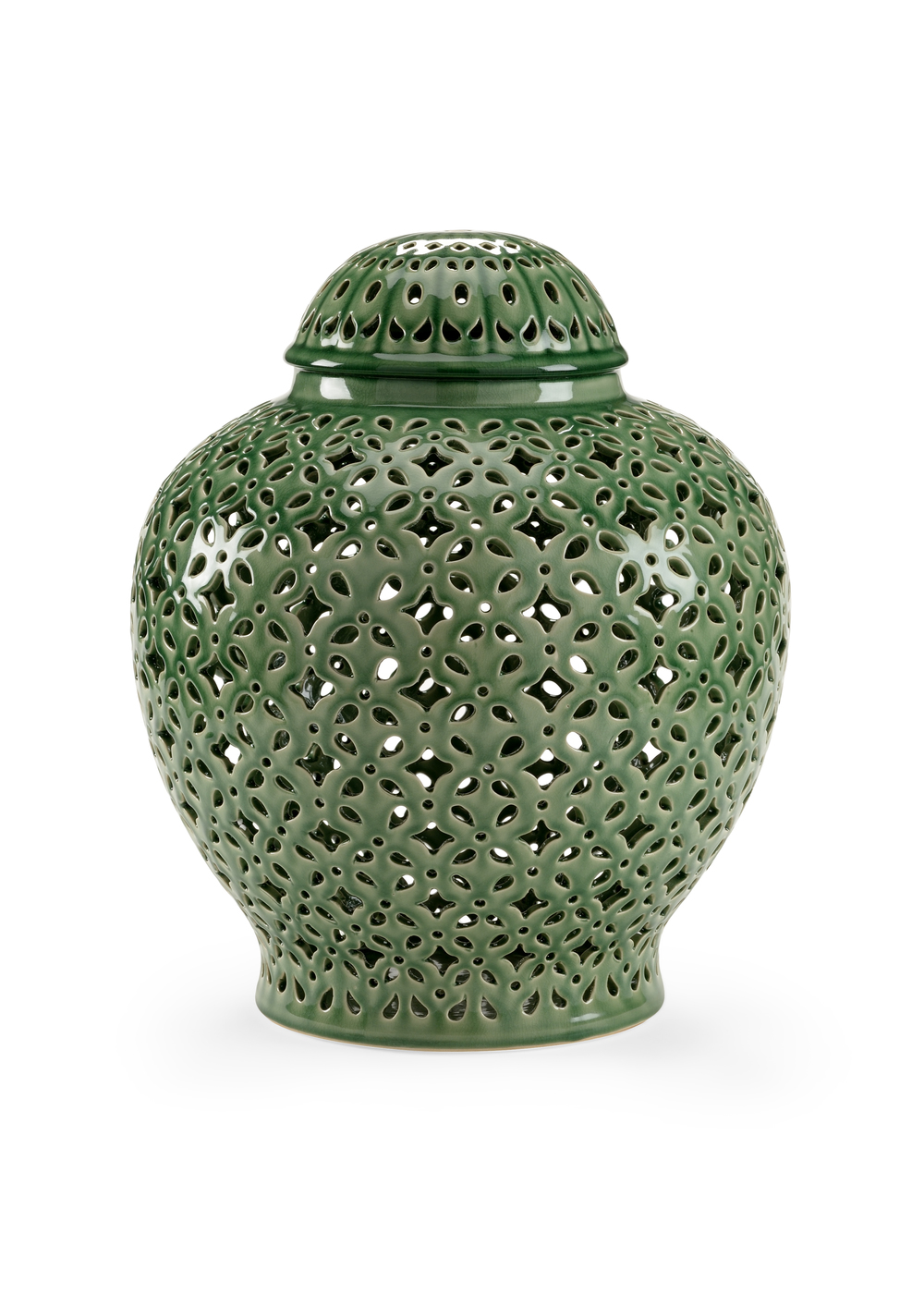 Chelsea House - Pierced Covered Jar in Green