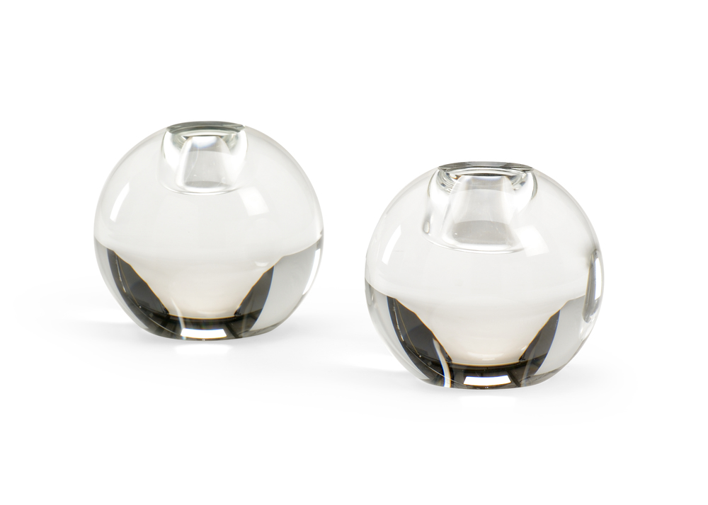 Chelsea House - Round Crystal Candlestick, Pair