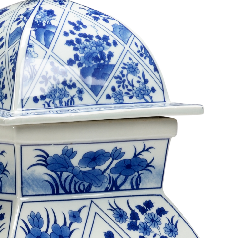 Chelsea House - Blue and White Covered Vase