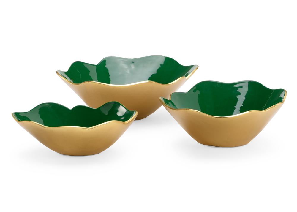 Chelsea House - Emerald Enameled Bowls