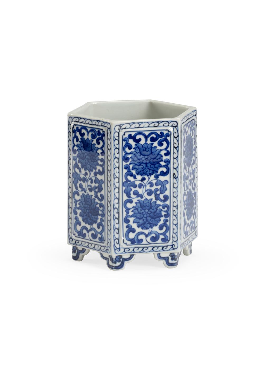 Chelsea House - Hexagonal Blue and White Vase