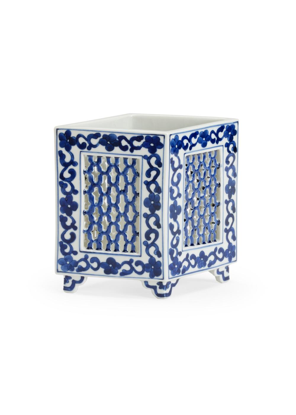 Chelsea House - Pierced Blue and White Large Vase