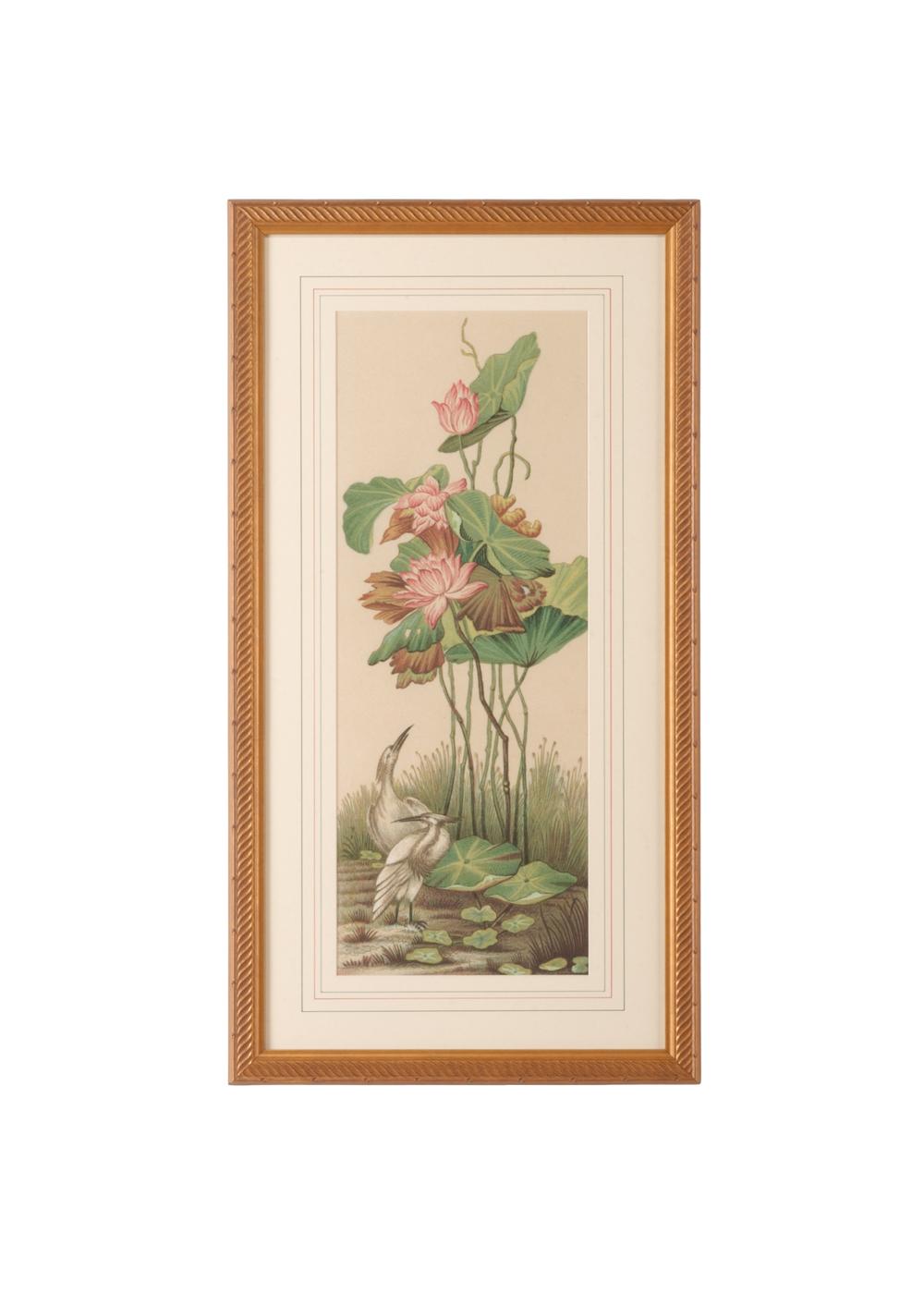 Chelsea House - Crane and Lotus Panel I Art