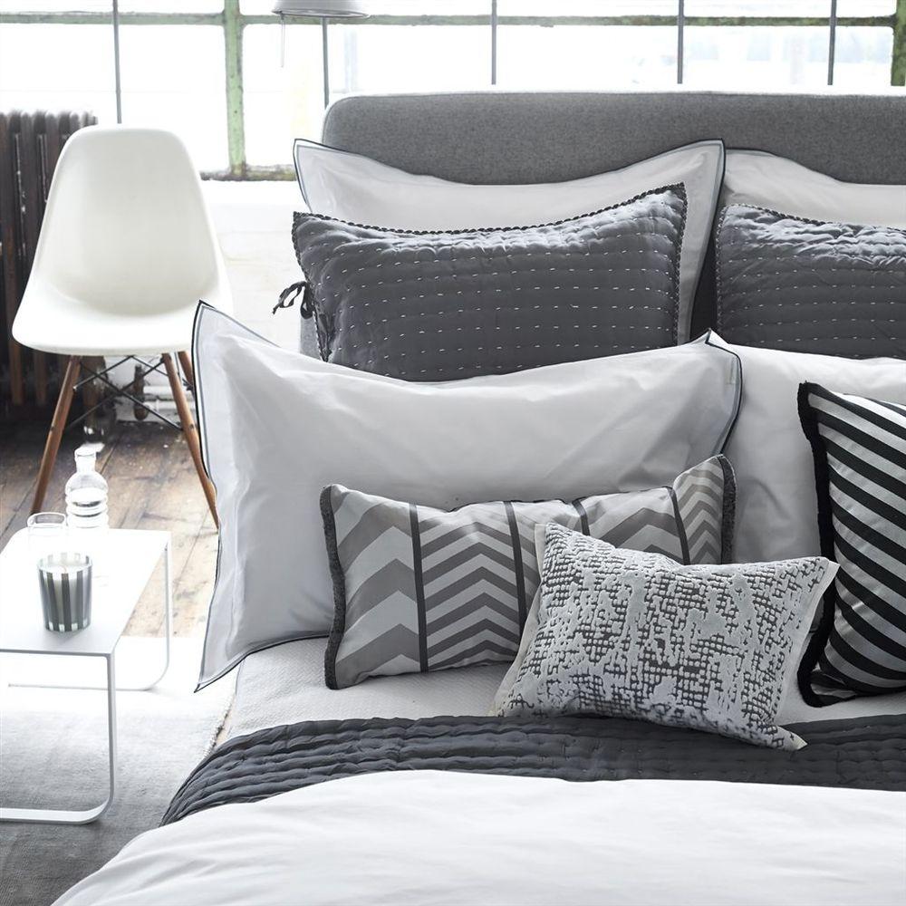 Designers Guild - Astor Charcoal & Dove Queen Flat Sheet
