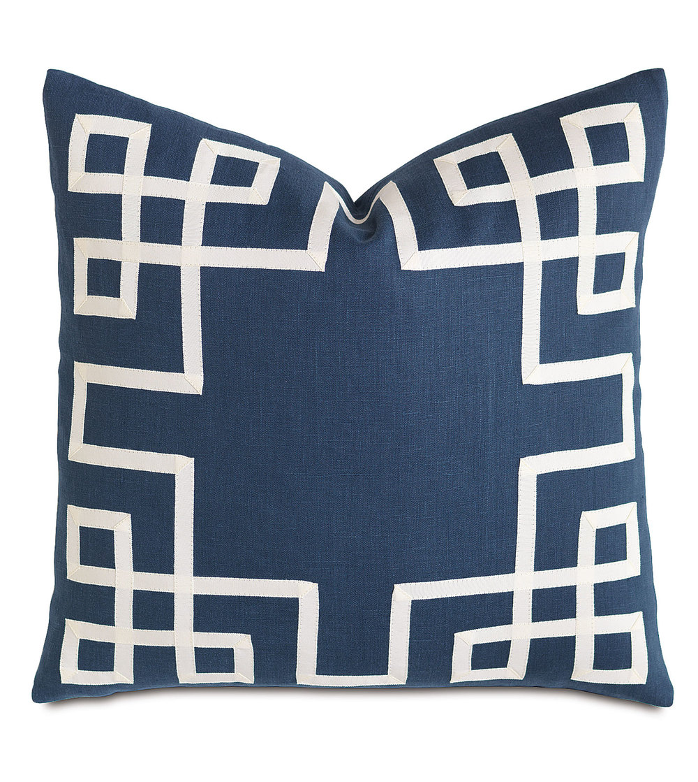 Eastern Accents - Breeze Indigo with Ribbon Pillow