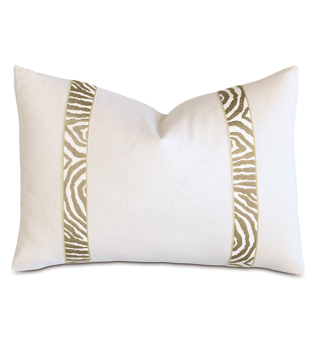 Eastern Accents - Filly White Pillow with Citron Border