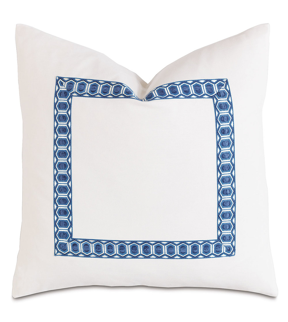 Eastern Accents - Baldwin White with Border Pillow