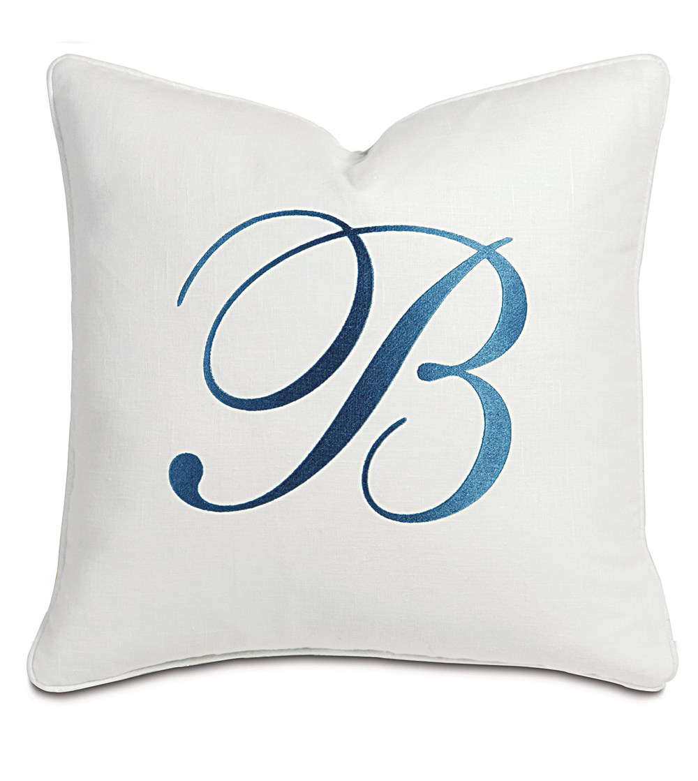 Eastern Accents - Breeze White with Monogram Pillow