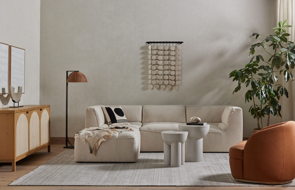 Four Hands - Cezanne 3 Piece Sectional with Ottoman