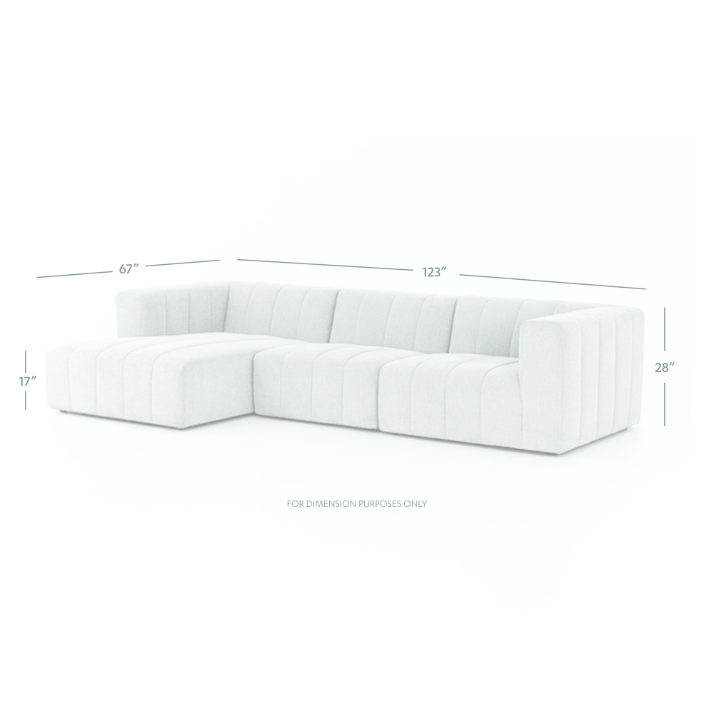 Four Hands - Langham Channeled Three Piece Sectional with Left Arm Facing Chaise