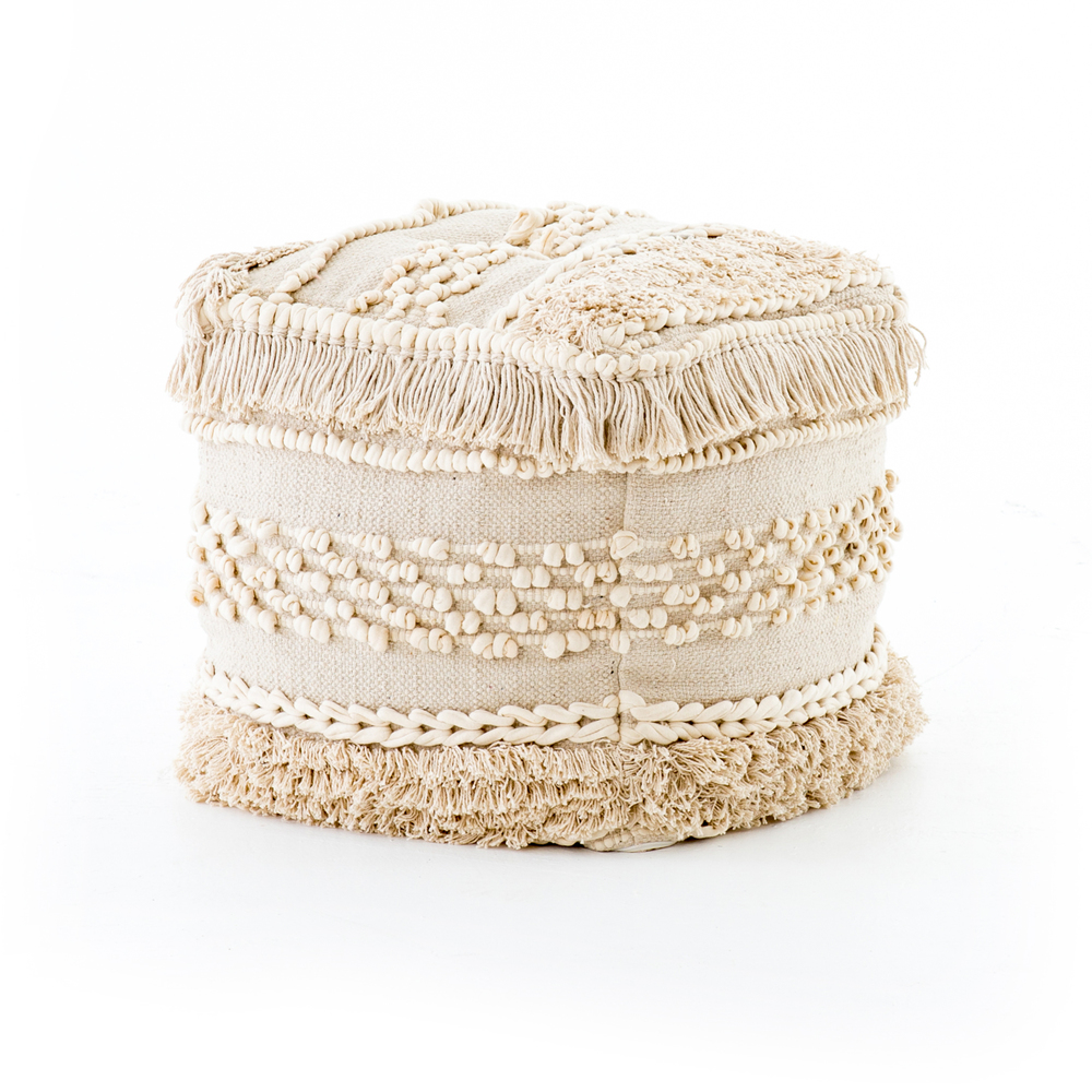 Four Hands - Braided Fringe Pouf