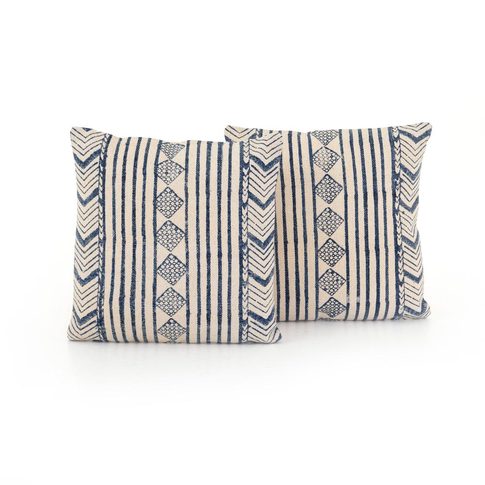 Four Hands - Faded Blue Diamond Pillow, Set of 2