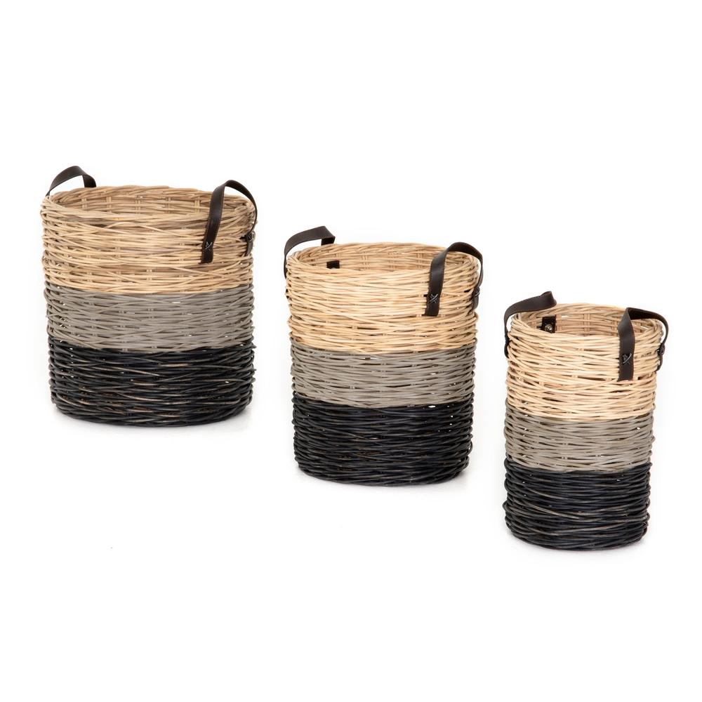 Four Hands - Ember Striped Baskets, Set/3