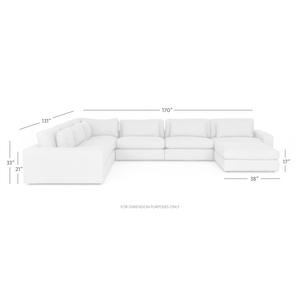 Thumbnail of Four Hands - Bloor Six Piece Sectional with Ottoman