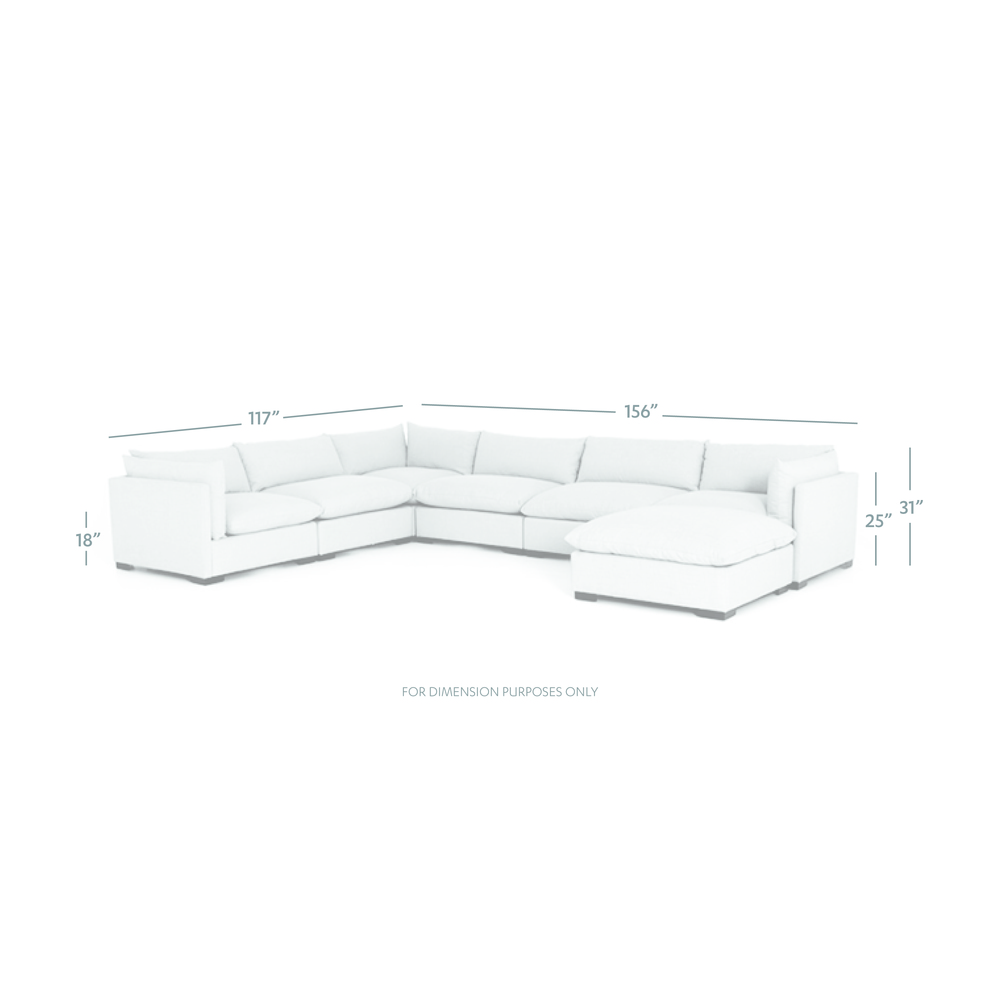 Four Hands - Westwood Six Piece Sectional with Ottoman