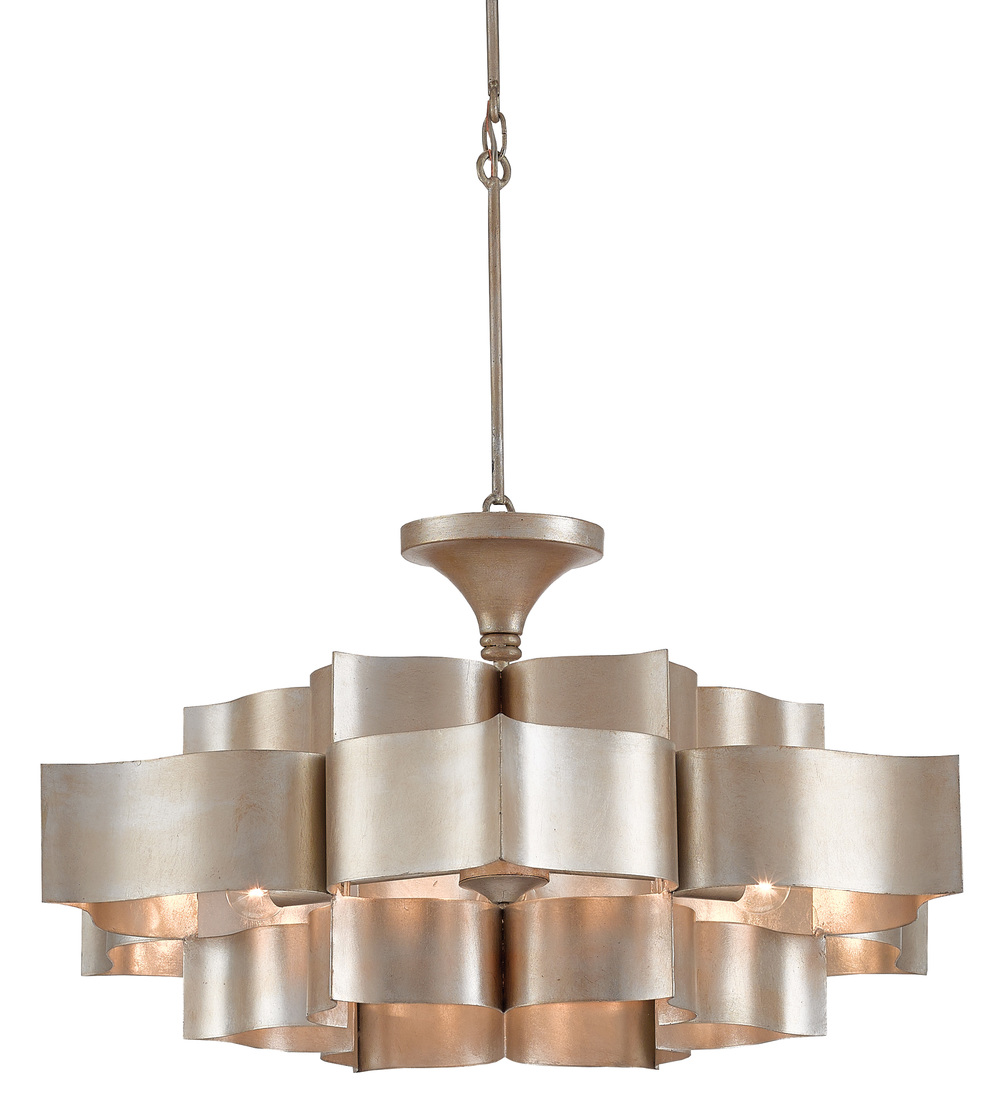 Currey & Company - Grand Lotus Silver Large Chandelier