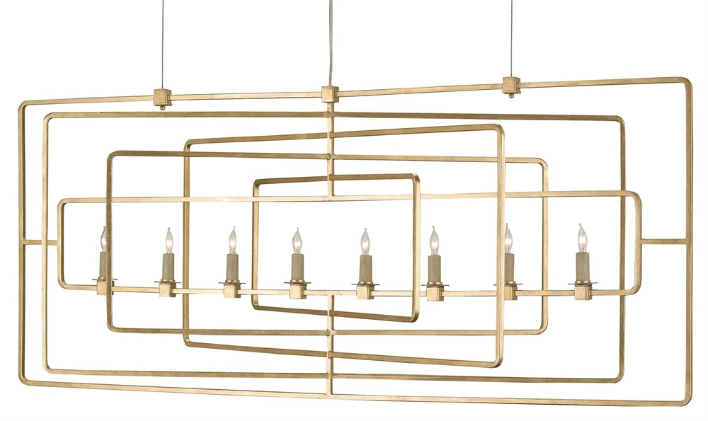Currey & Company - Metro Gold Rectangular Chandelier