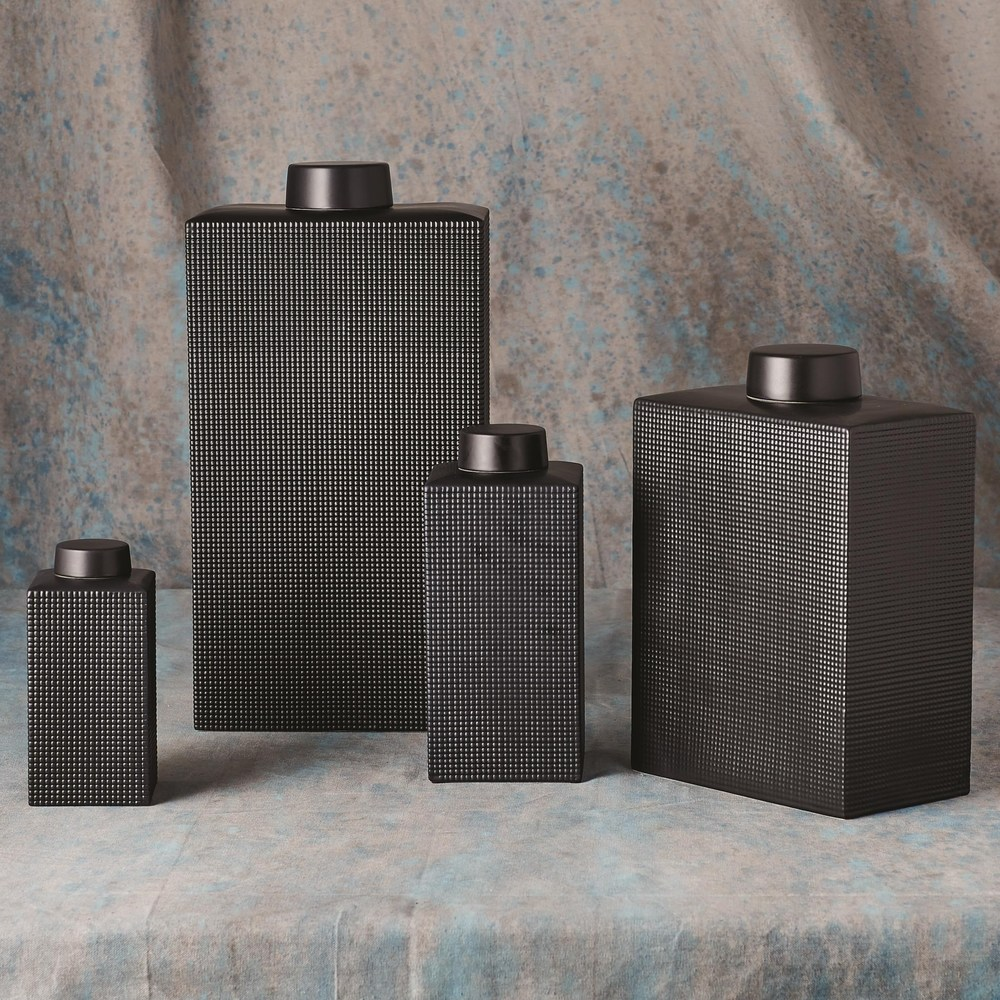 Global Views - Grid Texture Jar, Black, Large