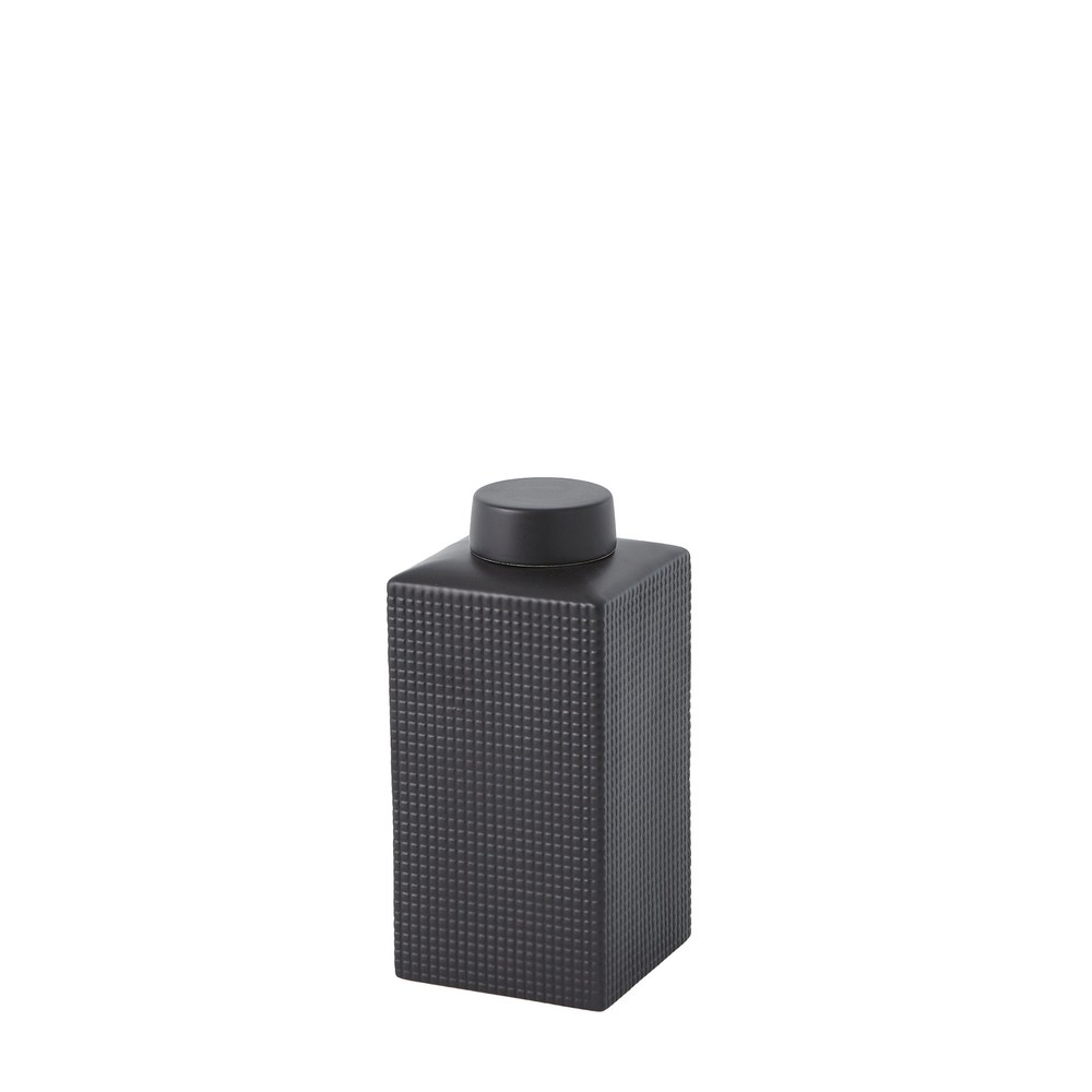 Global Views - Grid Texture Jar, Black, Small