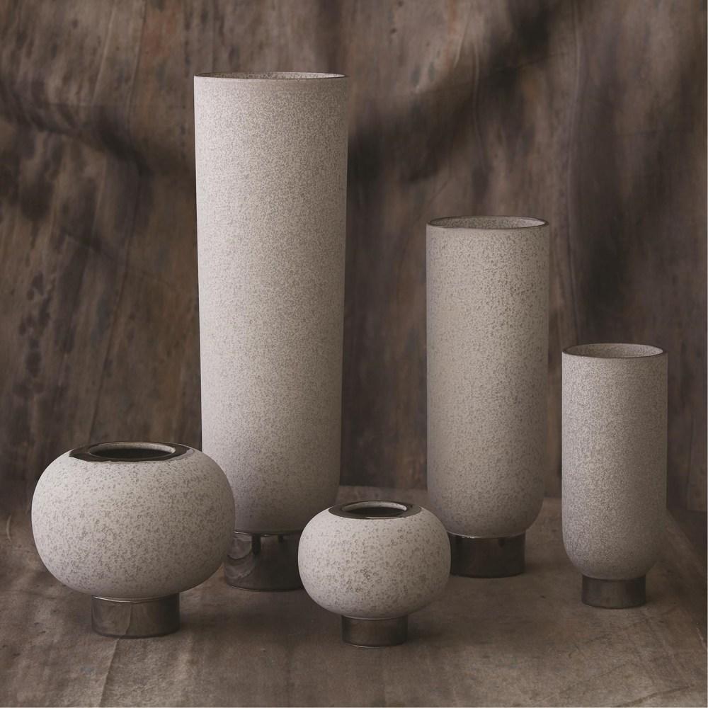 Global Views - Silver Banded Sphere Vase, Grey, Large