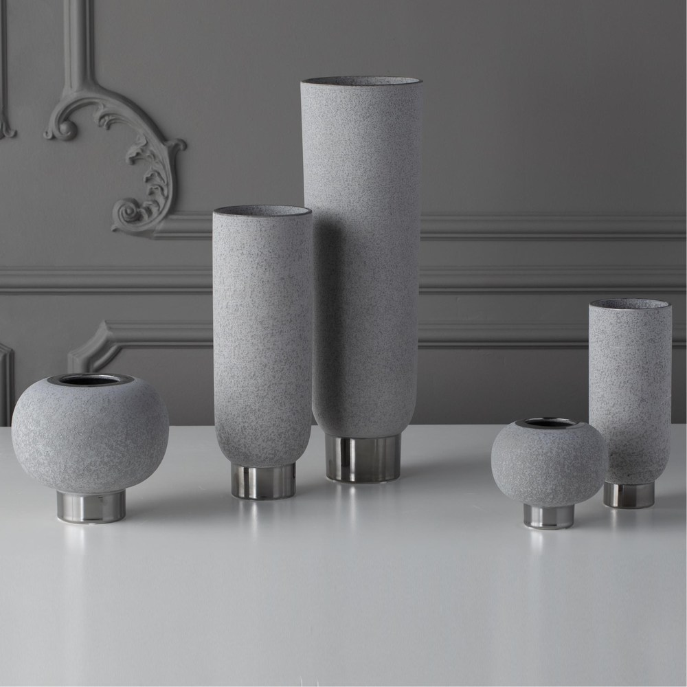 Global Views - Silver Banded Sphere Vase, Grey, Small