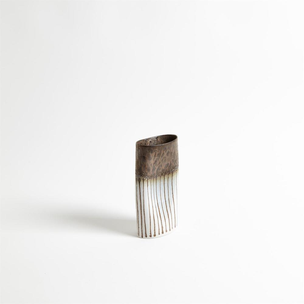 Global Views - Reactive Bronze Stripe Oval Vase, Small