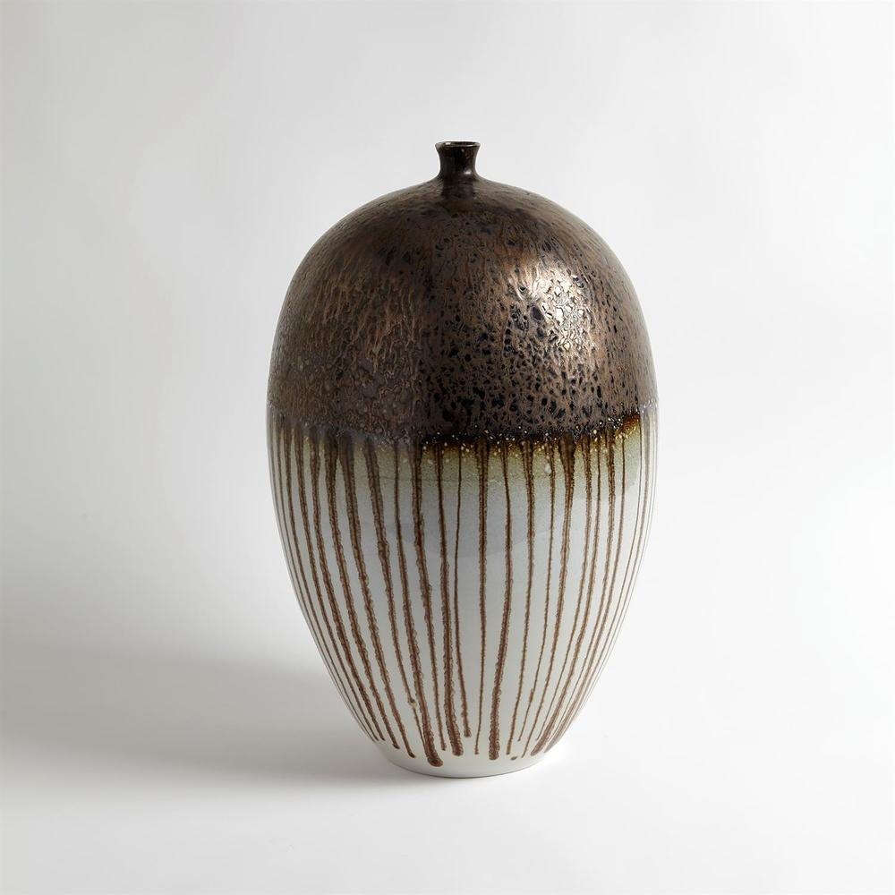 GLOBAL VIEWS - Reactive Bronze Stripe Vessel, Large