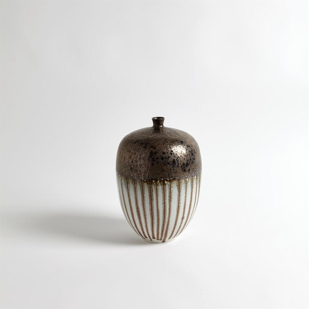 GLOBAL VIEWS - Reactive Bronze Stripe Vessel, Medium
