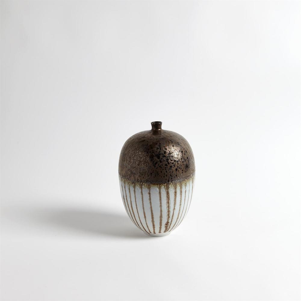 GLOBAL VIEWS - Reactive Bronze Stripe Vessel, Small