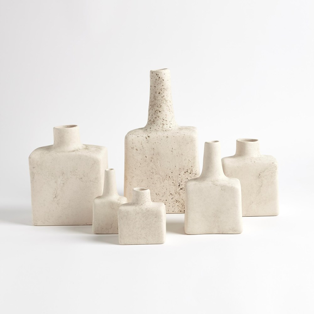 Global Views - Tall Stack Bottle, Reactive Ivory, Large