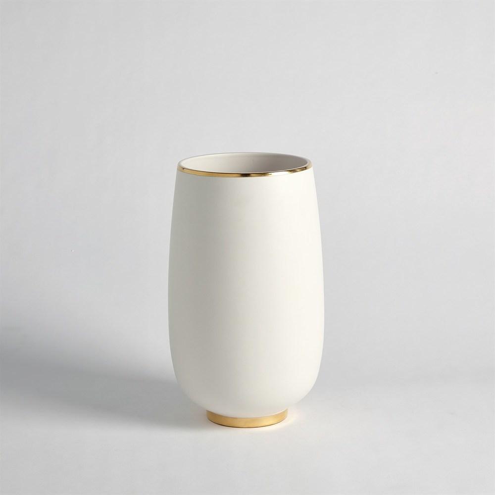 Global Views - Gold Rim Bulb Vase, Medium