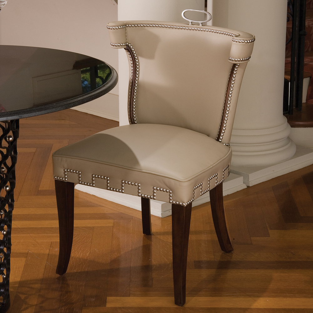 Global Views - Beige Leather Casino Chair