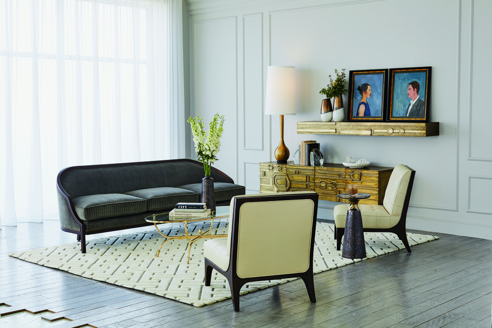 Global Views - Leather Tufted Slipper Chair