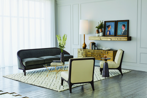 Thumbnail of Global Views - Leather Tufted Slipper Chair