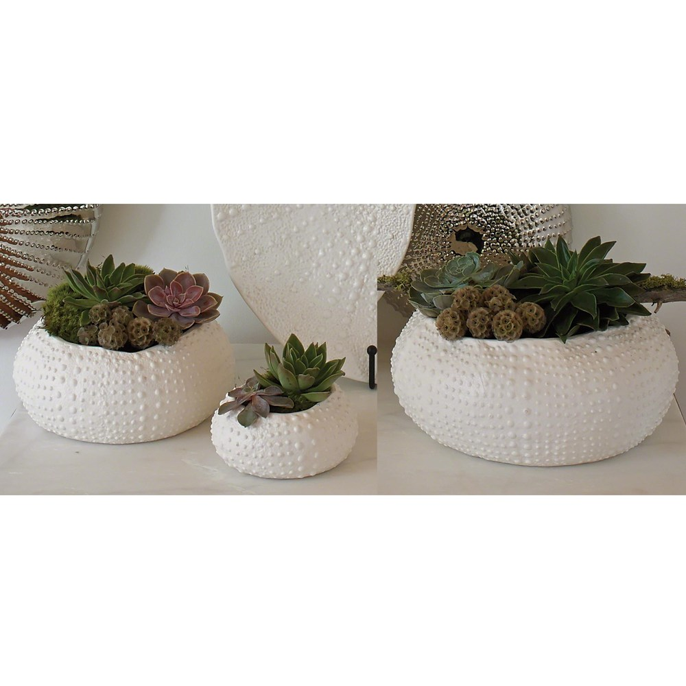 Global Views - Ceramic Urchin Bowl, Matte White, Medium
