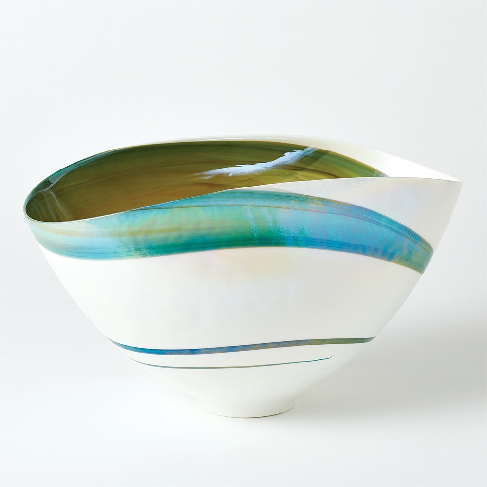 Global Views - Aqua Swirl Bowl