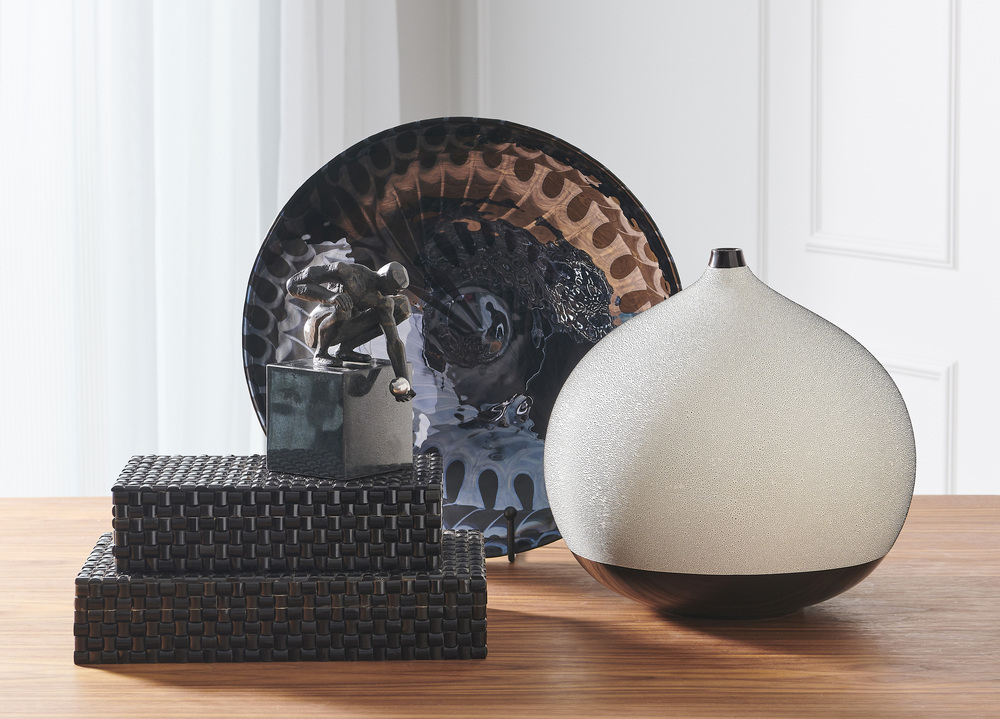 Global Views - Black Silver Marble Centerpiece Bowl/Charger